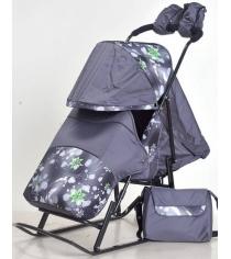 Санки коляска Kristy Luxe Comfort серый снежинки серый