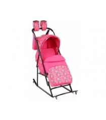 Санки коляска Kristy Luxe Comfort Plus розовый снежинки розовый