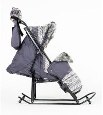 Санки коляска Kristy Luxe Premium Plus серый скандинавский орнамент