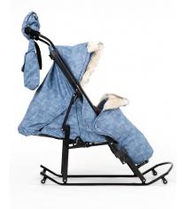 Санки коляска Kristy Luxe Premium Plus джинс