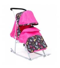 Санки коляска Kristy Luxe розовый краски розовый