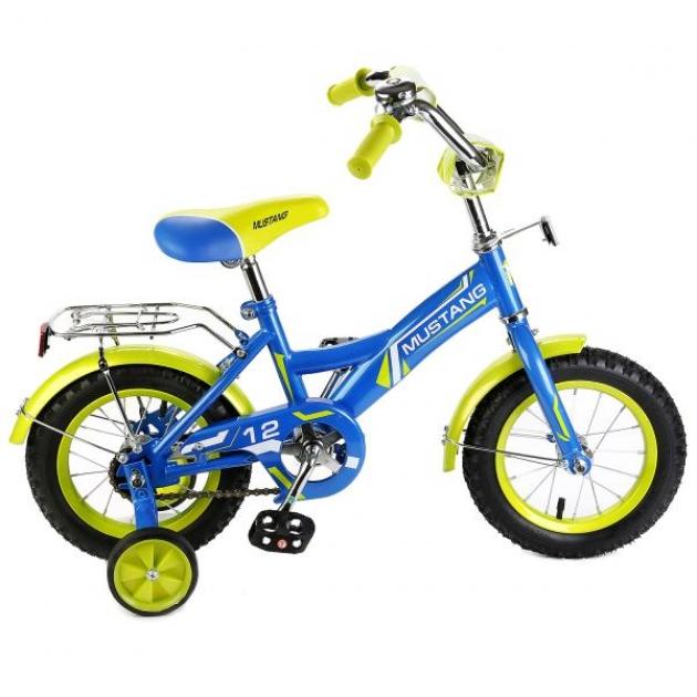 Детский велосипед 12 Mustang gw-тип синий/салатовый