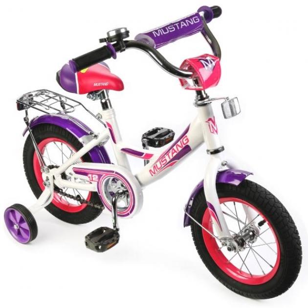 Детский велосипед 12 Mustang а-тип белый/фиолетовый