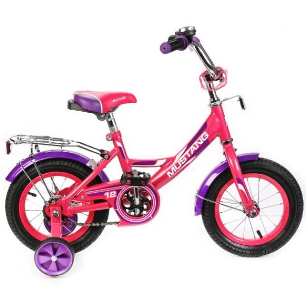 Детский велосипед 12 Mustang а-тип розовый/фиолетовый