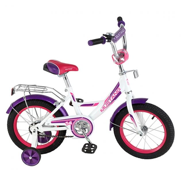 Детский велосипед Mustang a-тип белый/фиолетовый