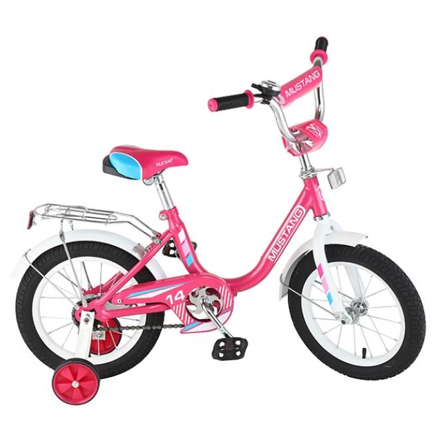 Детский велосипед 14 Mustang g-тип розовый/белый