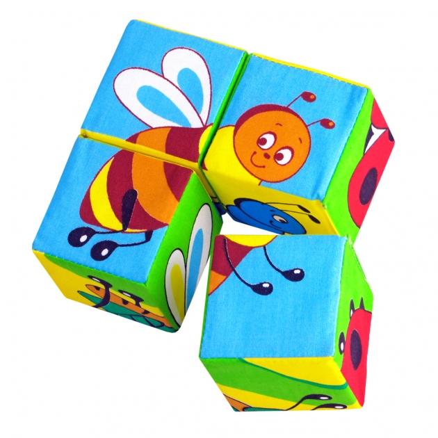 Набор мягких кубиков собери картинку насекомые 4 шт Мякиши Р59037