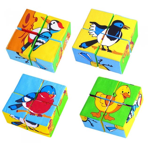 Набор кубиков собери картинку птицы Мякиши Р59038