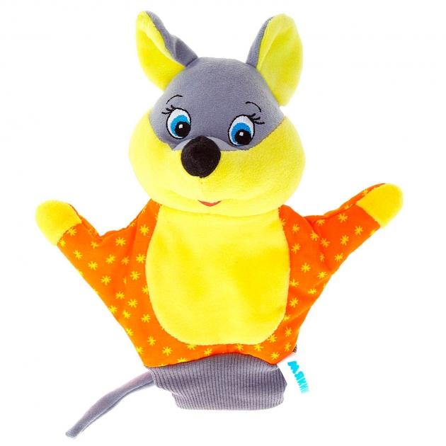 Игрушка рукавичка мышка серо желтая 22 см Мякиши Р70296