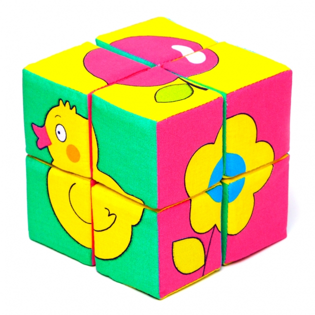 Набор кубиков собери картинку предметы Мякиши Р78131