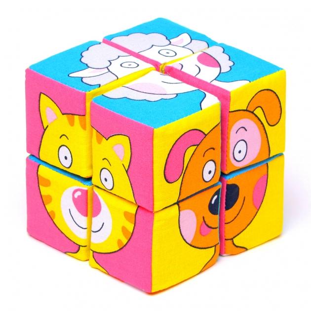 Набор мягких кубиков собери картинку зверята 8 шт Мякиши Р78132