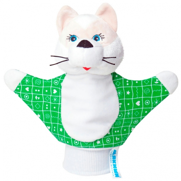 Игрушка на руку котенок зеленая Мякиши Р34623