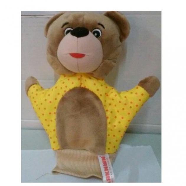 Игрушка на руку мишка желтая в горох Мякиши Р49221