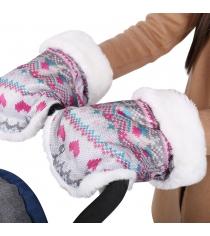 Рукавички для колясок и санок с вязаным принтом розовые Ника РС1_розовый