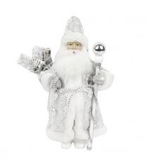 Кукла дед мороз 28 см серебро Новогодняя сказка 973720