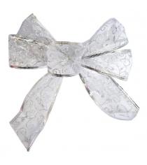 Елочное украшение бант праздничный 20х20 см серебр Новогодняя сказка 972294