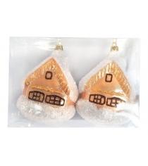 Елочное украшение домик 11 см 2 шт роз шамп Новогодняя сказка 972318