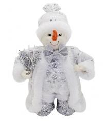 Кукла снеговик 20 см под елку серебро Новогодняя сказка 972437