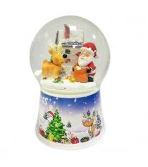 Шар декор дед мороз с оленем 100 мм Новогодняя сказка 972482