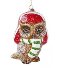 Елочное украшение сова 11 см пластик Новогодняя сказка 972512