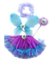 Костюм феи фиолет крылья 47х37 см юбка 30 см Новогодняя сказка 972569