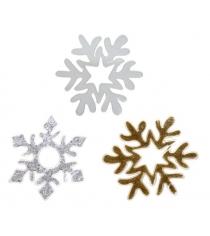 Наклейка гелевая снежинка 12 см в ассорт Новогодняя сказка 972674