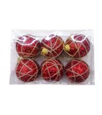 Набор шаров 6 см 6 шт красн пенопласт Новогодняя сказка 972710
