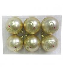 Набор шаров 8 см 6 шт золот Новогодняя сказка 972886