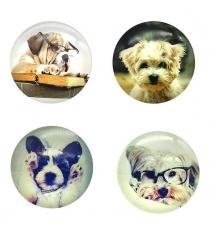Сувенирный магнит собачки 5х5 см стекло в ассорт Новогодняя сказка 972943