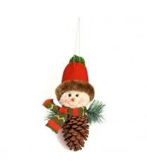 Подвеска снеговик 20 см шишка Новогодняя сказка 973013