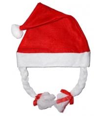 Колпак новогодний с косичками 38*28 см Новогодняя сказка 97924