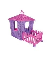 Игровой домик с оградой stone сиренево розовый Pilsan 06-443
