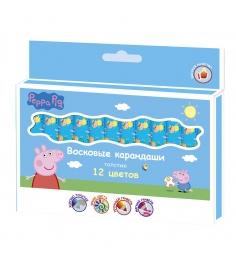 Восковые карандаши свинка пеппа 12 цветов Росмэн 32018...