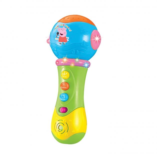 Музыкальный микрофон с проектором Свинка Пеппа 2 Зелено голубой Intertoy 35006