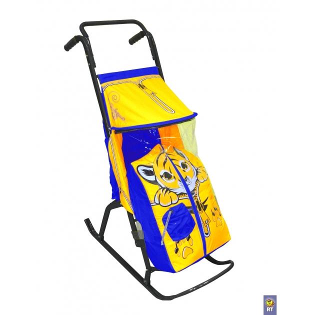 Санки коляска RT снегурочка 2 р тигренок желт голуб 3550