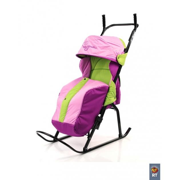 Санки коляска RT кенгуру 1 салатовый розовый сирен 3632