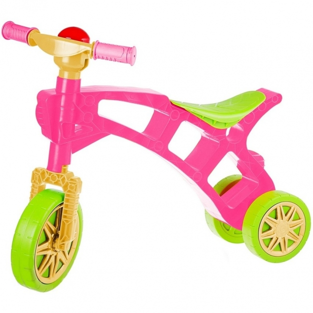 Каталка беговел RT самоделкин 3 колеса с клаксоном зелено розовая 5568