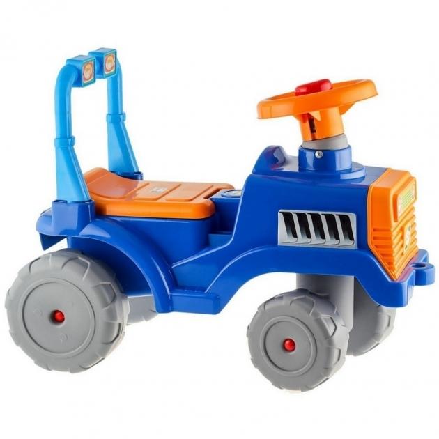 Каталка трактор в сине оранжевый 5618