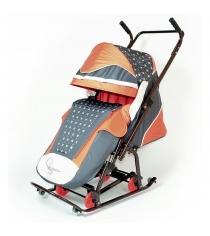 Санки коляска RT скользяшки мозаика коричневый терракотовый светло бежевый 0931 р14 6223