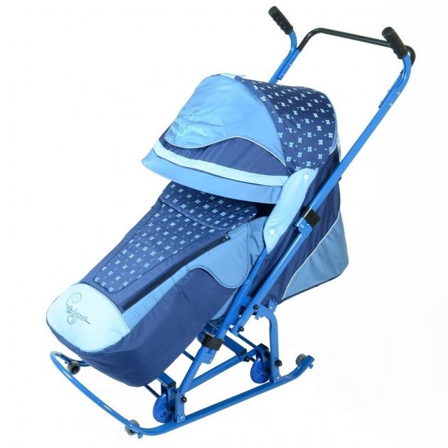 Санки коляска RT скользяшки мозаика васильковый голубой белый 0924 р14 6229