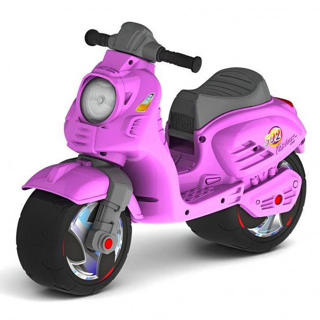 Каталка мотоцикл беговел скутер RT цвет розовый 6413
