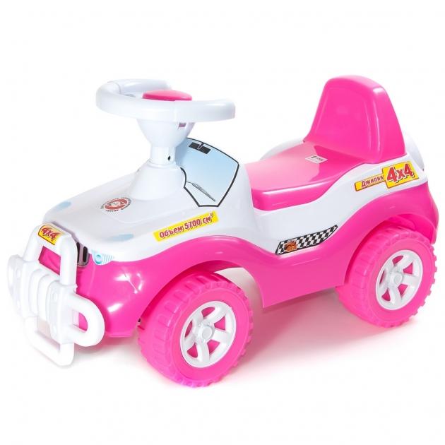 Каталка RT машинка джипик с клаксоном розовая 6526