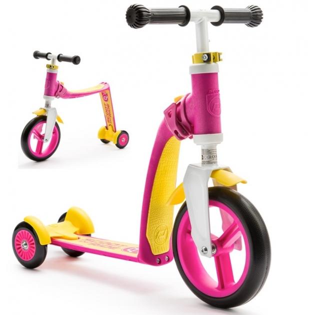 Трехколесный самокат беговел Scoot and ride highway baby plus розово жёлтый