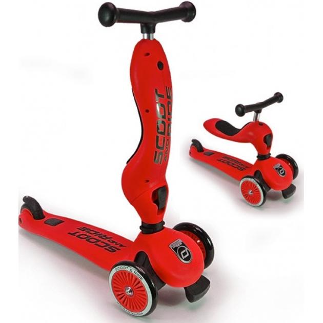Трехколесный самокат с сиденьем Scoot and ride highwaykick красный