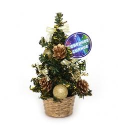 Декоративная елочка в горшочке с шишками 20 см Северное сияние IT100274...
