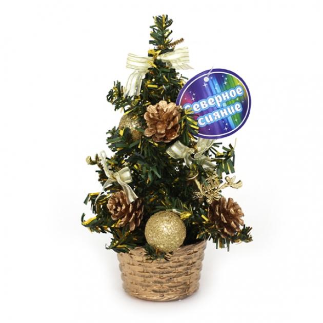 Декоративная елочка в горшочке с шишками 20 см Северное сияние IT100274