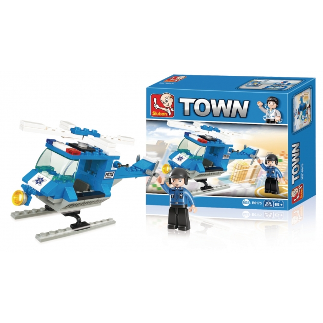 Конструктор город полицейский вертолет 85 деталей Sluban Г71972