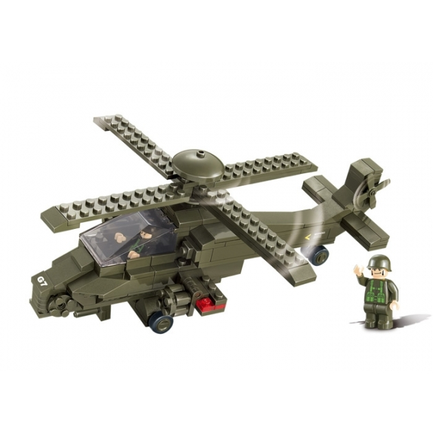 Конструктор сухопутные войска 2 военный вертолет 199 Sluban M38-B0298