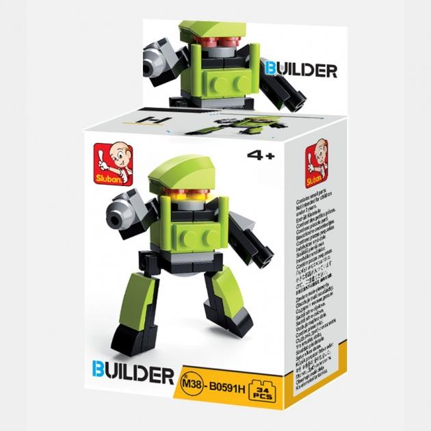Конструктор строитель 12 робот 34 детали Sluban M38-B0591H