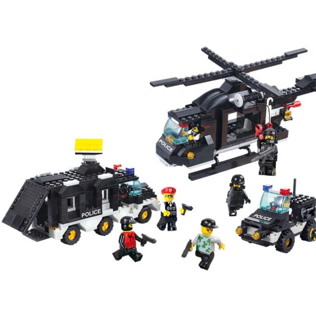 Конструктор военная полиция вертолет фургон и джип Sluban Г28706